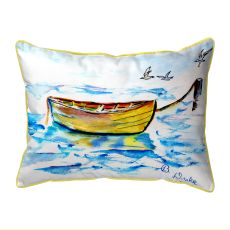 Yellow Row Boat Small Outdoor Pillow 11X14