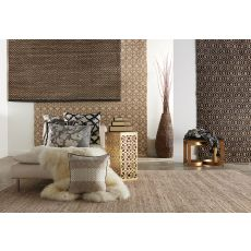 Naturals Chevrons Pattern Black/Natural Jute, Wool & Pu Leather Area Rug (9X12)