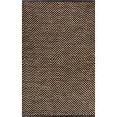 Chevrons Pattern Jute, Wool & Pu Leather Subra By Nikki Chu Area Rug