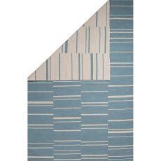 Flatweave Tribal Pattern Blue/White Cotton Area Rug (8X11)