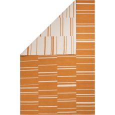 Flatweave Tribal Pattern Orange/White Cotton Area Rug (8X11)