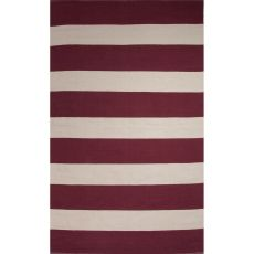 Flatweave Stripes Pattern Red/White Cotton Area Rug (8X11)