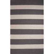 Flatweave Stripes Pattern Gray/White Cotton Area Rug (8X11)