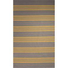 Flatweave Stripes Pattern Gray/Yellow Cotton Area Rug (8X11)