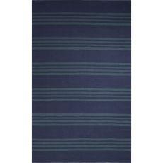 Flatweave Stripes Pattern Blue Cotton Area Rug (8X11)