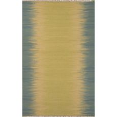 Flatweave Abstract Pattern Green/Blue Wool Area Rug (8X10)