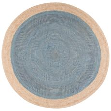 Naturals Border (And Round) Pattern Blue/Neutral Jute Area Rug (8X8)