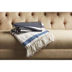 "Stripes Pattern Blue/White Cotton Thow ( 50""X60"")"
