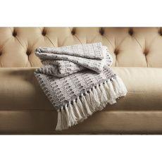 "Tribal Pattern Gray/White Cotton Thow ( 50""X63"")"