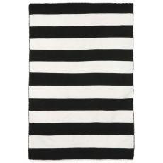 "Rugby Stripe Black Rug 42"" X 66"""