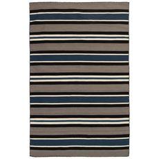 "Liora Manne Sorrento Cabana Stripe Indoor/Outdoor Rug Navy 7'6""x9'6"""