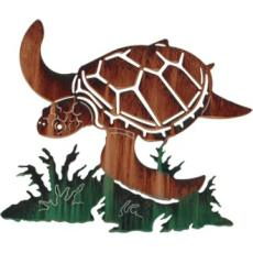 Sea Turtle with Coral Reef Metal Wall Art