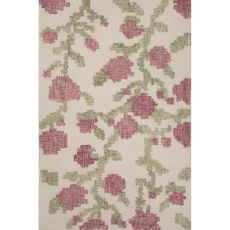 Contemporary Floral & Leaves Pattern Ivory/White Wool Area Rug (8X11)