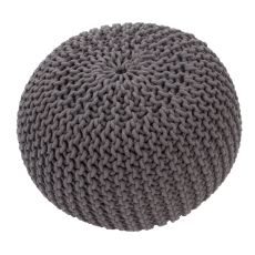 "Gray Cotton Pouf (20""x20""x14"")"