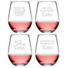 Lake Talk Asst Tritan Stemless Wine Tumblers S/4