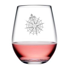 Voyager Compass Tritan Stemless Wine Tumblers, S/4