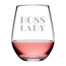 Boss Lady Tritan Stemless Wine Tumblers, S/4