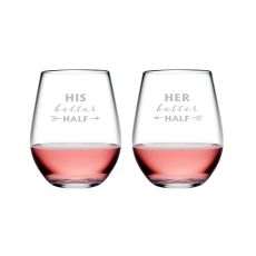 His & Her Better Half Tritan Stemless Wine Tumblers, S/2