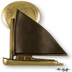 Catboat At Sunset Door Knocker-Brass/Bronze