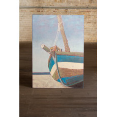 Beached Sailboat Oil Painting