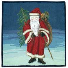 Santa With Tree Holiday Rug
