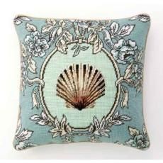 Sea Breeze Scallop Shell Needlepoint Pillow