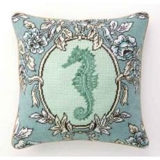 Sea Breeze Seahorse Needlepoint Pillow