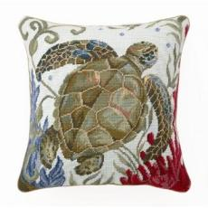 Sea Life Turtle Needlepoint Pillow