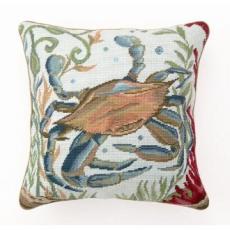Sea Life Crab Needlepoint Pillow