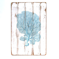 Sea Fan Teal Floorboard Wall Art