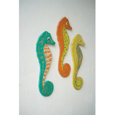 Distressed Painted Wooden Seahorses (set of 3)