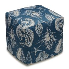 Seashells Linen-Upholstered Ottoman