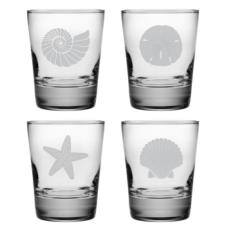 Seashore Etched DOF Glass Mixed Set of 4