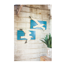 Painted Metal Seagulls on Recycled Wood