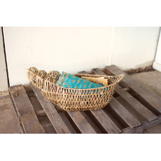 Seagrass and Metal Nautilus Shell Basket