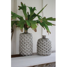 Grey Ceramic Bottle Vase with Seashell Design