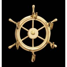 Ship's Wheel Brass Key Holder with Hooks