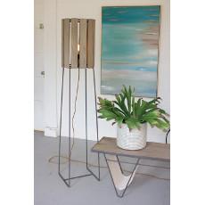 Wood Slatted Cylinder Floor Lamp