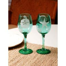 2 Assorted Sounds of the Sea Etched Wine Glasses