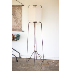 Tall Square Metal Floor Lamp with Canvas Shade