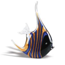 Striped Tropical Fish Crystal Sculpture