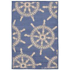 "Liora Manne Terrace Shipwheel Indoor/Outdoor Rug - Blue, 23"" by 35"""
