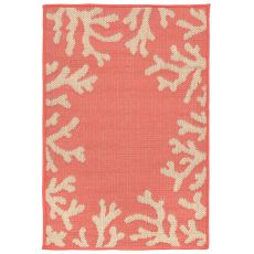 "Liora Manne Terrace Coral Bdr Indoor/Outdoor Rug - Orange, 23"" by 35"""