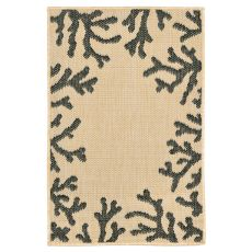"Liora Manne Terrace Coral Bdr Indoor/Outdoor Rug - Natural, 23"" by 35"""