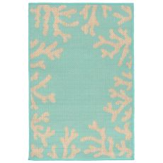 "Liora Manne Terrace Coral Bdr Indoor/Outdoor Rug - Blue, 23"" by 35"""