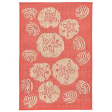 "Liora Manne Terrace Shell Toss Indoor/Outdoor Rug - Orange, 23"" by 35"""