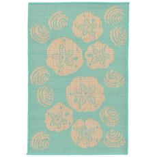 "Liora Manne Terrace Shell Toss Indoor/Outdoor Rug - Blue, 23"" by 35"""