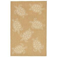 "Liora Manne Terrace Seaturtle Indoor/Outdoor Rug - Camel, 39"" By 59"""