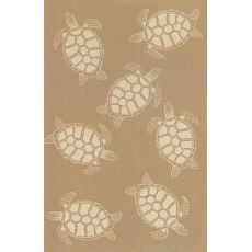 "Liora Manne Terrace Seaturtle Indoor/Outdoor Rug - Camel, 7'10"" By 7'10"""