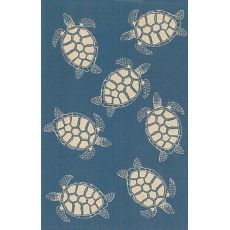 "Liora Manne Terrace Seaturtle Indoor/Outdoor Rug - Navy, 23"" By 7'6"""